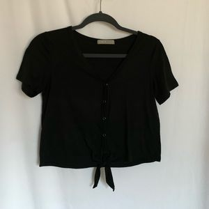 Cropped button Tee